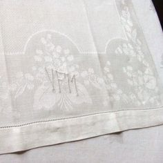 Vintage Linen Damask Towel Lily of the Valley by LinensandThings, $12.00