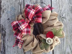Christmas Wreath Burlap Wreath Winter Wreath Red by TheRuffledPage