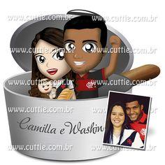 Caricatura para Chá Bar - Noivos Camilla e Washington - chá de panela cuttie