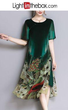 Women's Plus Size Sophisticated Street chic Loose Loose Sheath Dress - Floral, Split Print