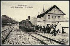 Foto antigua de la estación de tren de Puigcerda, Cerdaña. Pirineo Catalán.