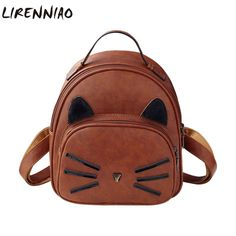 Fashion Animal Prints Women Mini Backpacks High Quality Pu Leather School Bags For Teens Famous Brands Cats Women Backpacks
