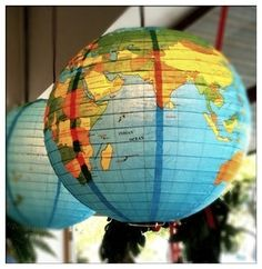Vintage Style Globe of World 2 Paper Lampshade/Lantern World Globe Lamp, Globe Lamps, World Globes, Adoption Baby Shower, Around The World Theme, Globe Crafts, Paper Lampshade, Globe Decor, Travel Party