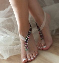 Multicolor Rhinestone barefoot sandals, Beach wedding barefoot sandals, FREE SHIP Barefoot Sandals, Anklet, Bellydance, Steampunk, Beach