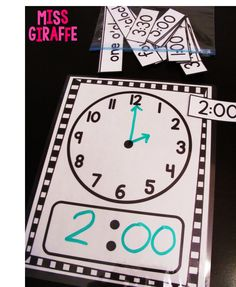 Telling time in first grade ideas: Laminate a clock mat and draw the time with dry erase markers Teaching Time, Teaching Math, Teaching Measurement, Teaching Clock, Fun Math, Math Activities, Telling Time Activities, Telling Time Games, Leadership Activities