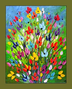 Colorful Flower Painting, Textured Flower Painting on Canvas 16x20 Wall Art, Home Decor