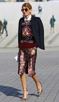 pfw-fw2013-street-style-sarah-rutson-mixed-prints-floral-skirt OBSESSED!  Can't wait for Fall