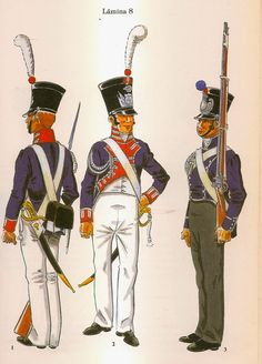 Spanish; Militay Colleges and Academiers, L to R Rear & Front of San Carlos Military College 1811-`18 & Tarragona Military College 1810