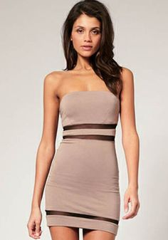 Khaki Patchwork Grenadine Bandeau Mini Dress