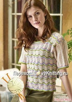 В чудесном пуловере с короткими рукавами и квадратным вырезом горловины от дизайнера Mary Henderson видны традиционные элементы шотландского вязания.