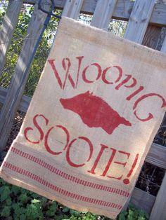 Arkansas Razorback Garden Flag Handpainted Burlap