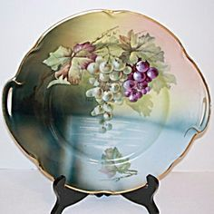 Antique Jaeger Bavarian Porcelain Plate - Grapes over Water - Artist Signed