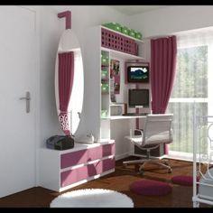 biblioteca con cajoneras, espejo, lugar para compu y tele