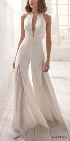 2019 Modest Prom Dresses Long, Pink Formal Dresses With Slit, V Neck Evening Dresses Backless Wedding Jumpsuit, Casual Jumpsuit, Elegant Jumpsuit, White Jumpsuit, Women's Dresses, Evening Dresses, Short Dresses, Fashion Dresses, Party Wear