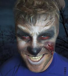 Fabulous werewolf makeup for Halloween featuring Stargazer Classic Matte Palette and White Pressed Powder.