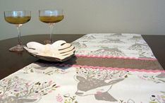 Retro Mic Century Style Deer Table Runner, New, Hand Made by Tiki Queen