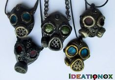 Polymer Gas Mask Necklaces by Ideationox Polymer Clay Figures, Polymer Clay Projects, Polymer Clay Charms, Polymer Clay Art, Polymer Clay Jewelry, Clay Crafts, Polymer Clay Steampunk, Sculpey Clay, Resin Jewelry