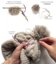 Wool Beanie with fur pom pom – Knitting Pattern & Tutorial Knitting Stitches, Knitting Patterns Free, Free Knitting, Baby Knitting, Free Crochet, Free Pattern, Knit Crochet, Crochet Patterns, Crochet Hats
