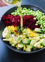 Superfood salad with beet, edamame, spinach and avocado - cookieandkate.com This salad will make you think you have a bladder infection &/or colon cancer for days and your coworkers may ask if you murdered anyone lately.  Tastes ok if you don't mind your whole kitchen turning red.