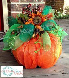 Deco Mesh Pumpkin by aDOORableDecoWreaths on Etsy, $69.99