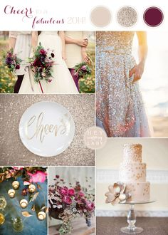 champagne decor, pomegranate wedding color, futur, champagne wedding, dream, inspiration boards, wedding colors, new years, plum