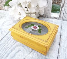 Small YELLOW Painted SHABBY CHIC Jewelry Box / by HuckleberryVntg, $19.00