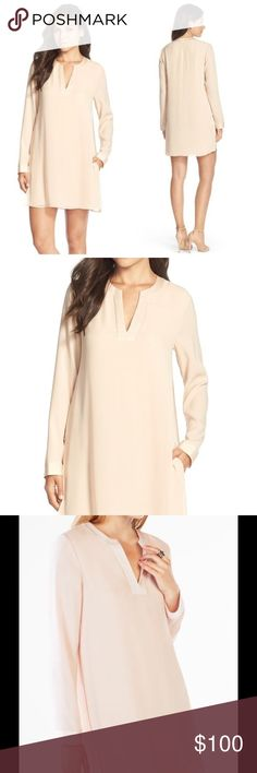 """BCBG MAXAZRIA Dyanne Crepe Nude Shift Dress $60 on ♏️erc🅰️ri A timeless long-sleeve shift is enhanced by satiny trim along the split neckline. The versatile silhouette takes you from work to weekend and everywhere in between. 36"""" length (size Medium). Slips on over head. Split V-neckline. Long sleeves. Side-seam pockets. 77% triacetate, 23% polyester with 100% polyester contrast. Machine wash cold, line dry. BCBGMaxAzria Dresses Mini"""