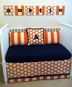 Navy and Orange Crib set. These patterns are so pretty! It made me think of you, @Amber Odom  cause it's totally Auburn colors lol :)