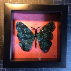 Glitter (so much glitter!) and black lace beaded butterfly, given as a gift to a close family friend.