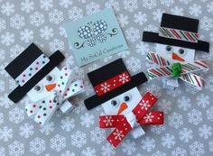 Snowman Ribbon Sculpture Hair Clip-No Slip Winter Hair Clip-Holiday-Christmas-New Year Ribbon Art, Ribbon Crafts, Ribbon Bows, Cheap Ribbon, Ribbons, Christmas Hair Bows, Diy Christmas Gifts, Holiday Crafts, Xmas