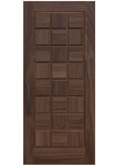 BLOK A custom door design with transverse patterns of grain on raised square panels creating a study in contrast and symmetry in this stunning design. Rendering shown in walnut. Main Entrance Door Design, Wooden Front Door Design, House Main Door Design, Modern Wooden Doors, Internal Wooden Doors, Internal Doors Modern, Bedroom Door Design, Door Design Interior, Door Design Images
