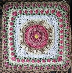 "Fountain of Roses 12"" Square  by Shan Sevcik  - Free Crochet Pattern"