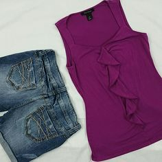 """WHBM ◈ Magenta Ruffle Top Cute top!  Measurements Laying Flat Across: Length:  23"""" Armpit-to-armpit:  15.5"""" White House Black Market Tops Tank Tops"""