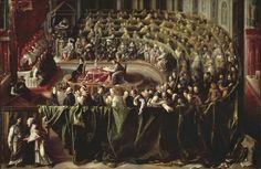 1. Pittore olandese del XVII secolo (cerchia di Gerard Terborch?), Il concilio di Trento. New York, collezione privata