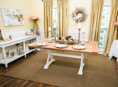 """Get great DIY tips, crafts, and more from the experts at Hallmark Channel's """"Home & Family,"""" weekdays at Home And Family Crafts, Home And Family Hallmark, Diy Farmhouse Table, Wood Trim, Furniture Makeover, Furniture Ideas, Diy Projects, Decorating Ideas, Craft Ideas"""