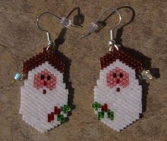 Santa Earrings Hand Made Seed Beaded by wolflady on Etsy