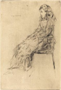 Fanny Leyland, by James Abbott McNeill Whistler James Abbott Mcneill Whistler, Fine Art Drawing, Art Drawings, Art Nouveau, Etching Prints, National Gallery Of Art, Canadian Art, Beautiful Drawings, Vintage Wall Art