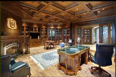example of coffered ceiling within a tray (too much wood) Lodge Style, Architect Design, Site Design, Home Office, Office Style, Future House, Custom Homes, Beautiful Places, Architecture