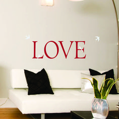 Love Wall Decals | Home Complete Decal Collection Red LOVE with White Birds