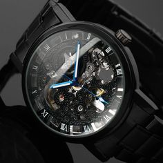 Vintage Steampunk style Fashion Skeleton Watches for men by T-winner. Affordable mechanical steampunk fashion style watches for men. Skeleton Mechanical Watch, Automatic Skeleton Watch, Mens Skeleton Watch, Skeleton Watches, Automatic Watch, Mechanical Hand, Male Skeleton, Mechanical Design, Cheap Watches