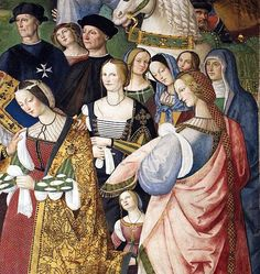 Pinturicchio Enea Silvio Piccolomini Presents Frederick III to Eleonora of Portugal (detail)between 1502 and fresco,Piccolomini Library,Cathedral,Siena, Italian Renaissance Dress, High Renaissance, Renaissance Clothing, Renaissance Fashion, Renaissance Portraits, Renaissance Paintings, Italian Paintings, Italian Artist, Medieval Art