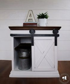 Sliding Barn Door Side Table. use Bub's nightstand and use it for printer