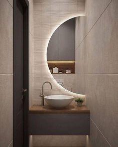 Washroom Design, Bathroom Design Luxury, Modern Bathroom Design, Small Toilet Room, Small Bathroom, Round Bathroom Mirror, Modern Bathroom Mirrors, Cozy Bathroom, Unique Mirrors