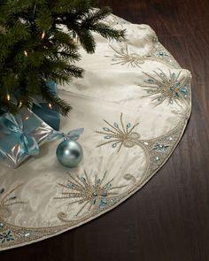 Kim Seybert Jewel Tiara Christmas Tree Skirt Z Christmas Skirt, Christmas Sewing, Blue Christmas, All Things Christmas, Christmas Holidays, Xmas Tree Skirts, Stocking Tree, Christmas Crafts, Christmas Ornaments