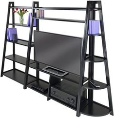 Wood 3-Piece TV Stand Corner Book Shelf Bookcase Book Case Media Entertainment
