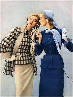 Suzy in plaid boucle with a solid skirt and matching topper, Jean's fitted suit is of pure worsted Miron wool with scarf, all by Swansdown, hats by Mr. John, Vogue, January 1953