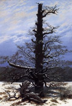 "Caspar David Friedrich, ""Oak Tree in the Snow"", oil on canvas Caspar David Friedrich Paintings, Casper David, The Snow, European Paintings, Oil Painting Reproductions, Oak Tree, Winter Landscape, Pictures To Paint, Book Covers"