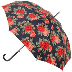 Cath Kidston Riva Auto Walking Length Umbrella - Royal Rose Navy