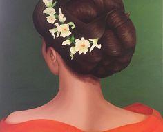 Orange Lady, Dam, Lady, Tina Perborn,Oil painting