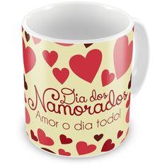 Caneca Porcelana Dia Dos Namorados Amor o Dia Todo